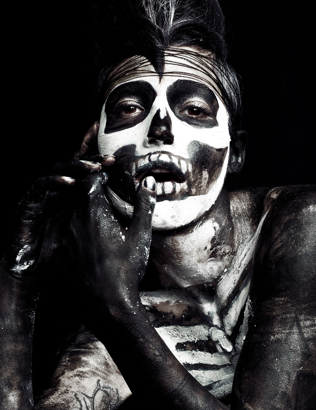 Female model in skeleton makeup by Nika Vaughan